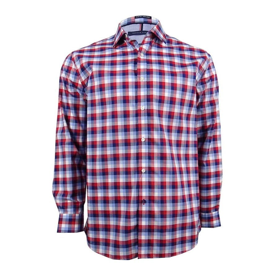 ffc4ed7d2 Shop Tommy Hilfiger Men's Slim-Fit Non-Iron Check Dress Shirt (16 1/2 32-33  Blue/Red) - Blue/Red - 16 1/2 32-33 - Free Shipping On Orders Over $45 ...