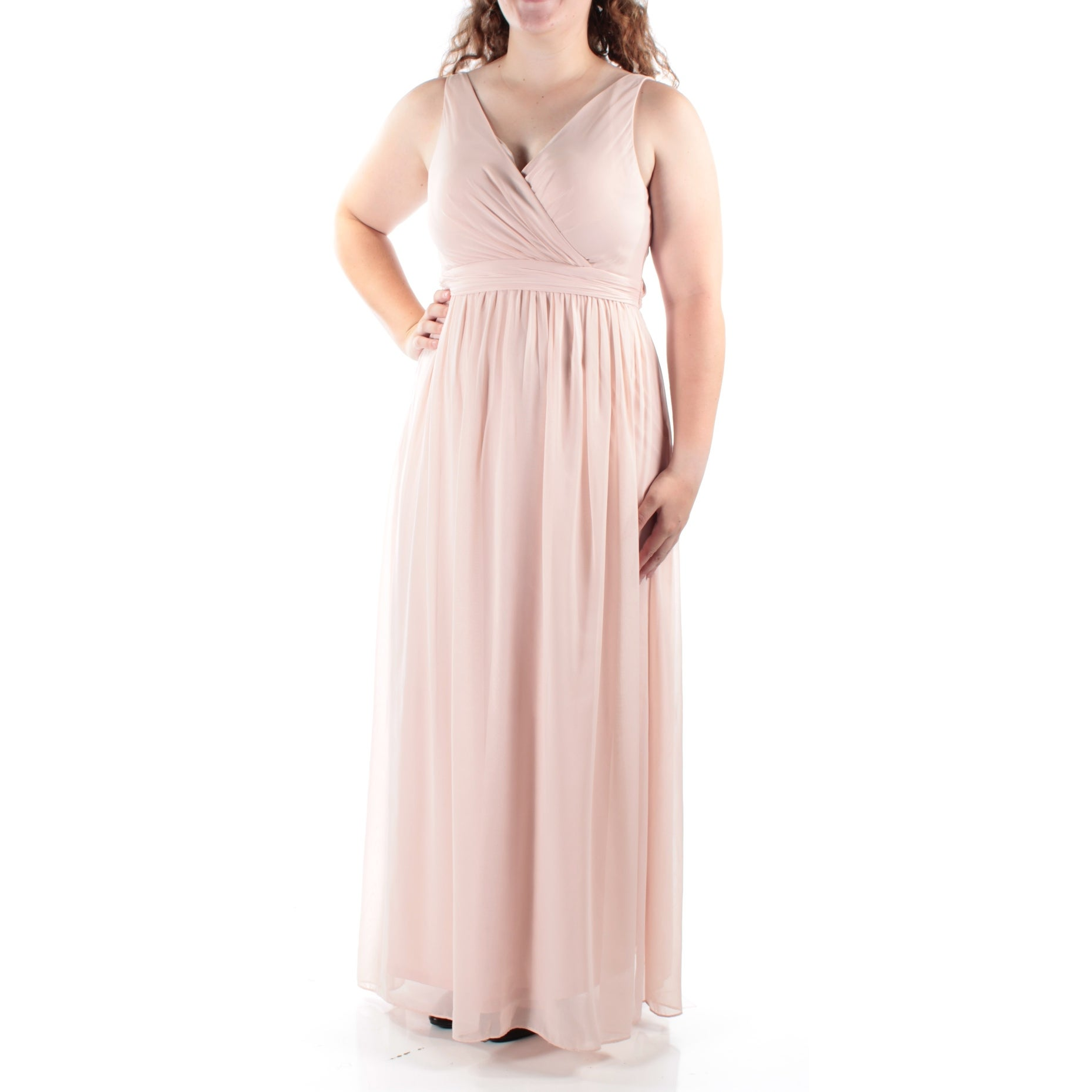 ab14e2aed812 Shop ADRIANNA PAPELL Womens Pink Spaghetti Strap V Neck Full Length Empire  Waist Dress Size: 14 - Free Shipping On Orders Over $45 - Overstock -  24057596