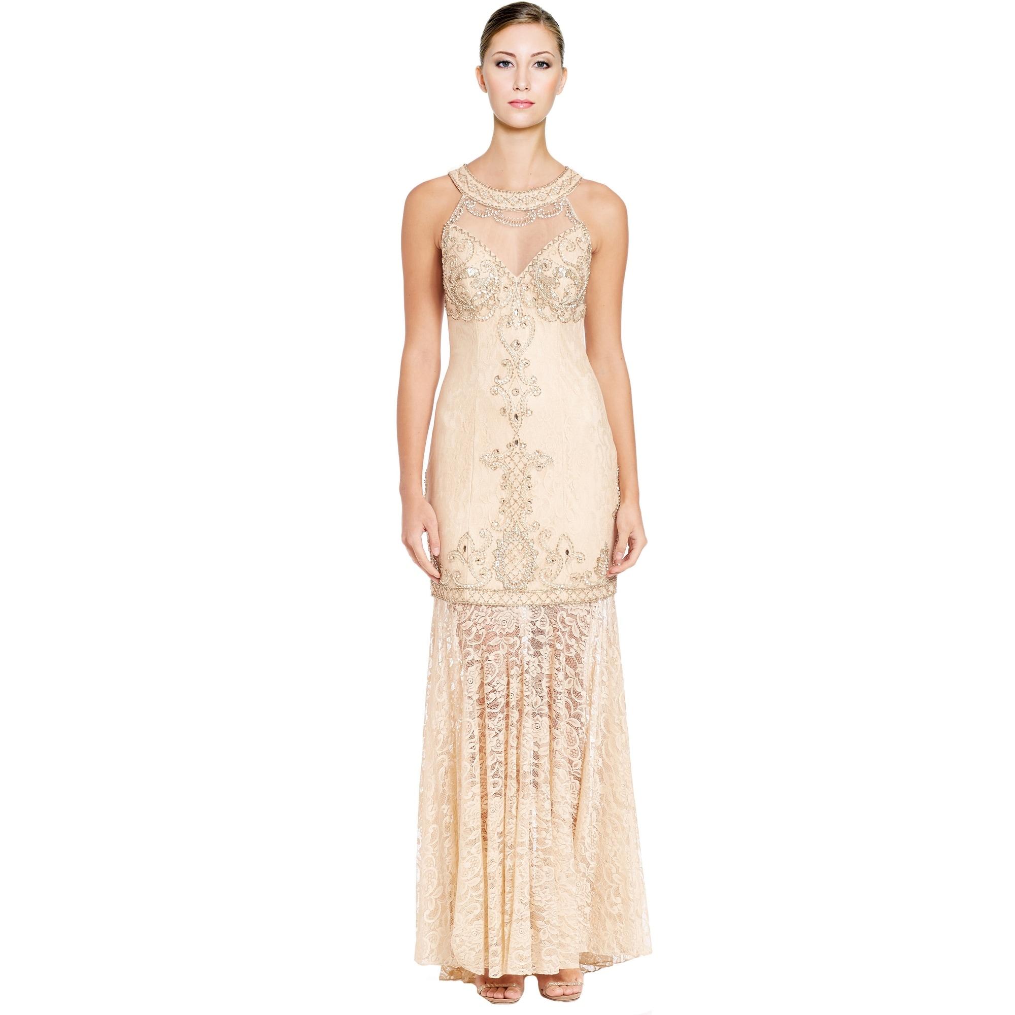 Sue Wong Embellished Lace Illusion Yoke Halter Evening Gown Dress ...
