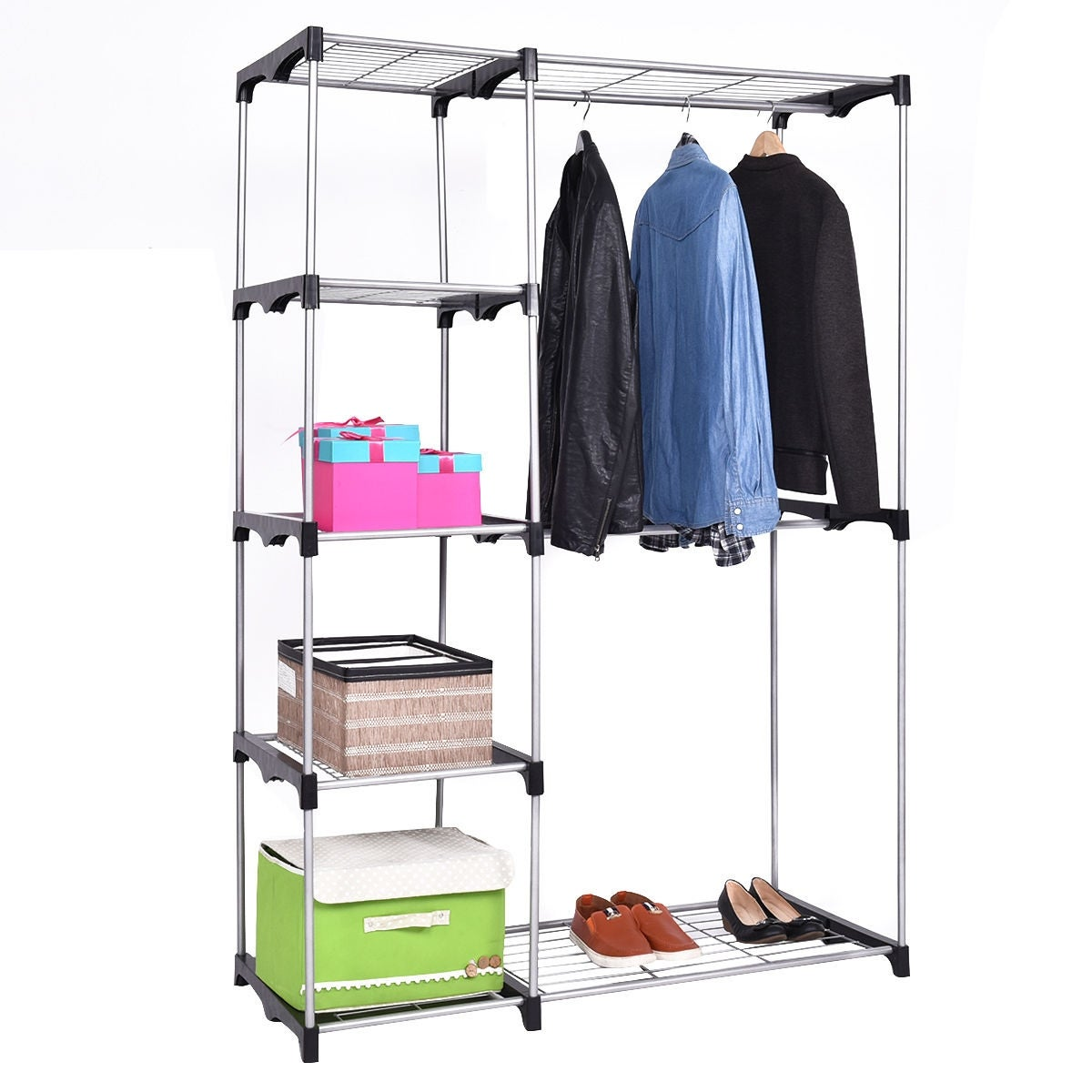 Charming Shop Costway Closet Organizer Storage Rack Portable Wardrobe Garment Hanger Double  Rod Shelf   As Pic   Free Shipping Today   Overstock.com   16899204