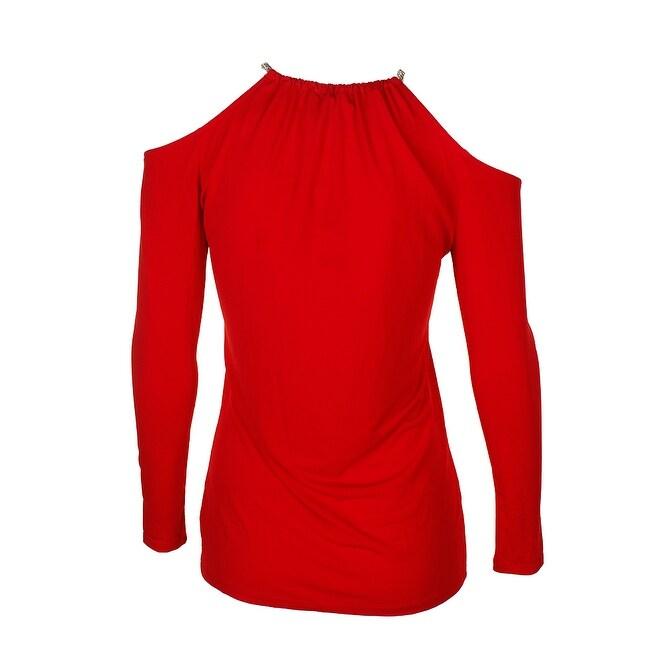 2ee117d405951f Shop Michael Michael Kors Crimson Red Chain-Trim Cold-Shoulder Top ...