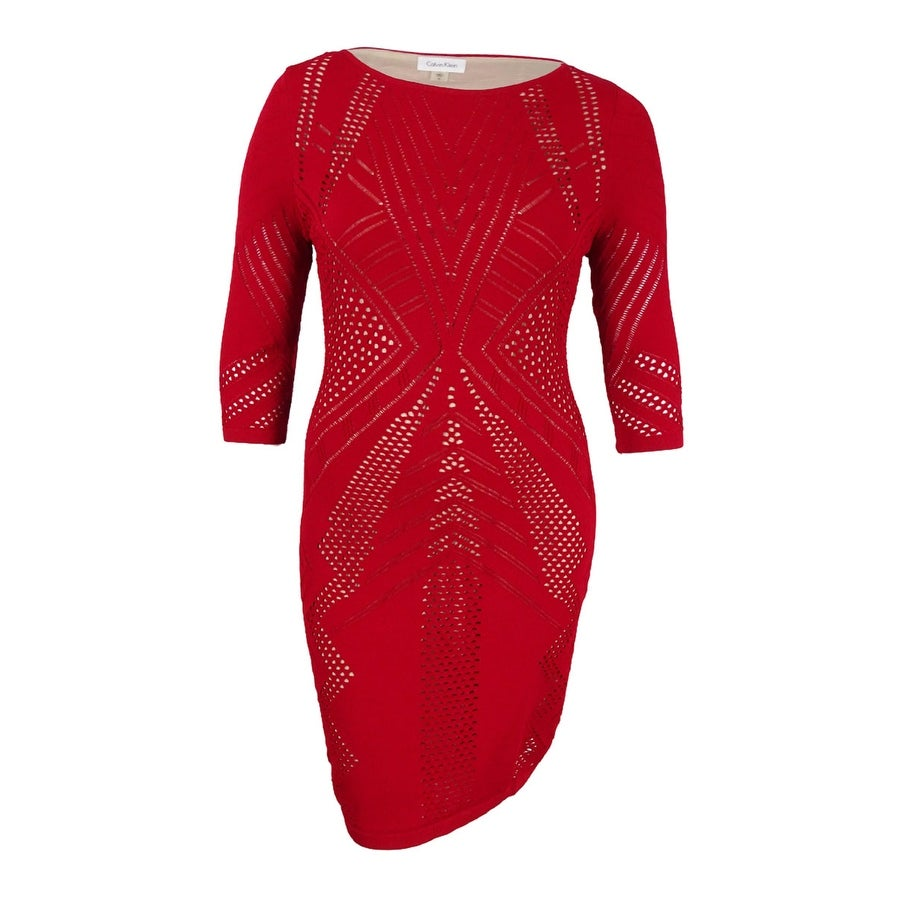 9844b8af Shop Calvin Klein Women's Pointelle Knit Sweater Dress (XL, Red) - Black -  XL - On Sale - Free Shipping On Orders Over $45 - Overstock - 17270147