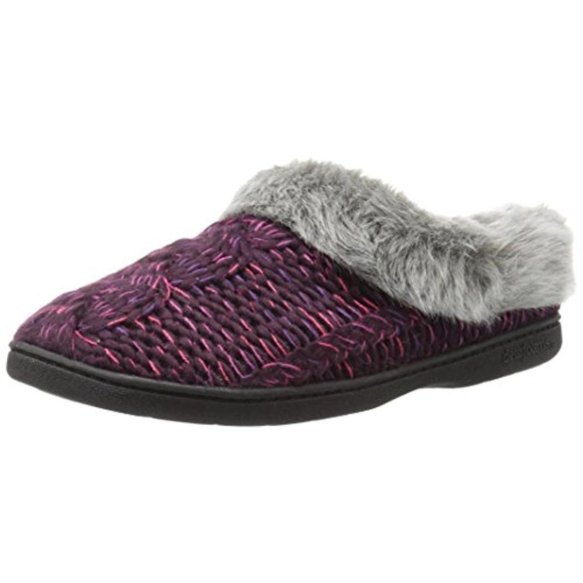 0cf44ea15a2 Shop Dearfoams Womens Clog Slippers Cable Knit Faux Fur - S - Free ...