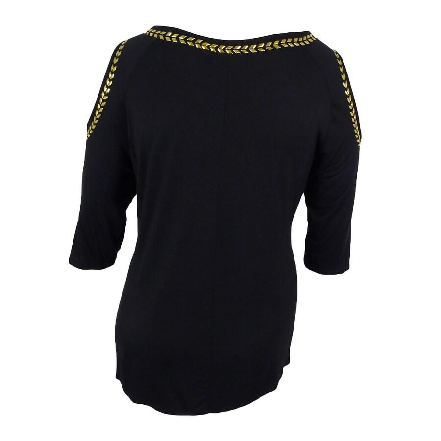 f72d13cc9bbfa9 Shop Belldini Women s Plus Size Cold-Shoulder Top Black