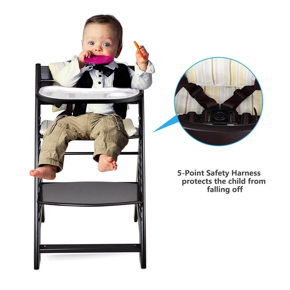e1a18d38d640 Shop Costway Baby Toddler Wooden Highchair Dining Chair Adjustable Height  w/ Removeable Tray - Black - Free Shipping Today - Overstock - 23081677