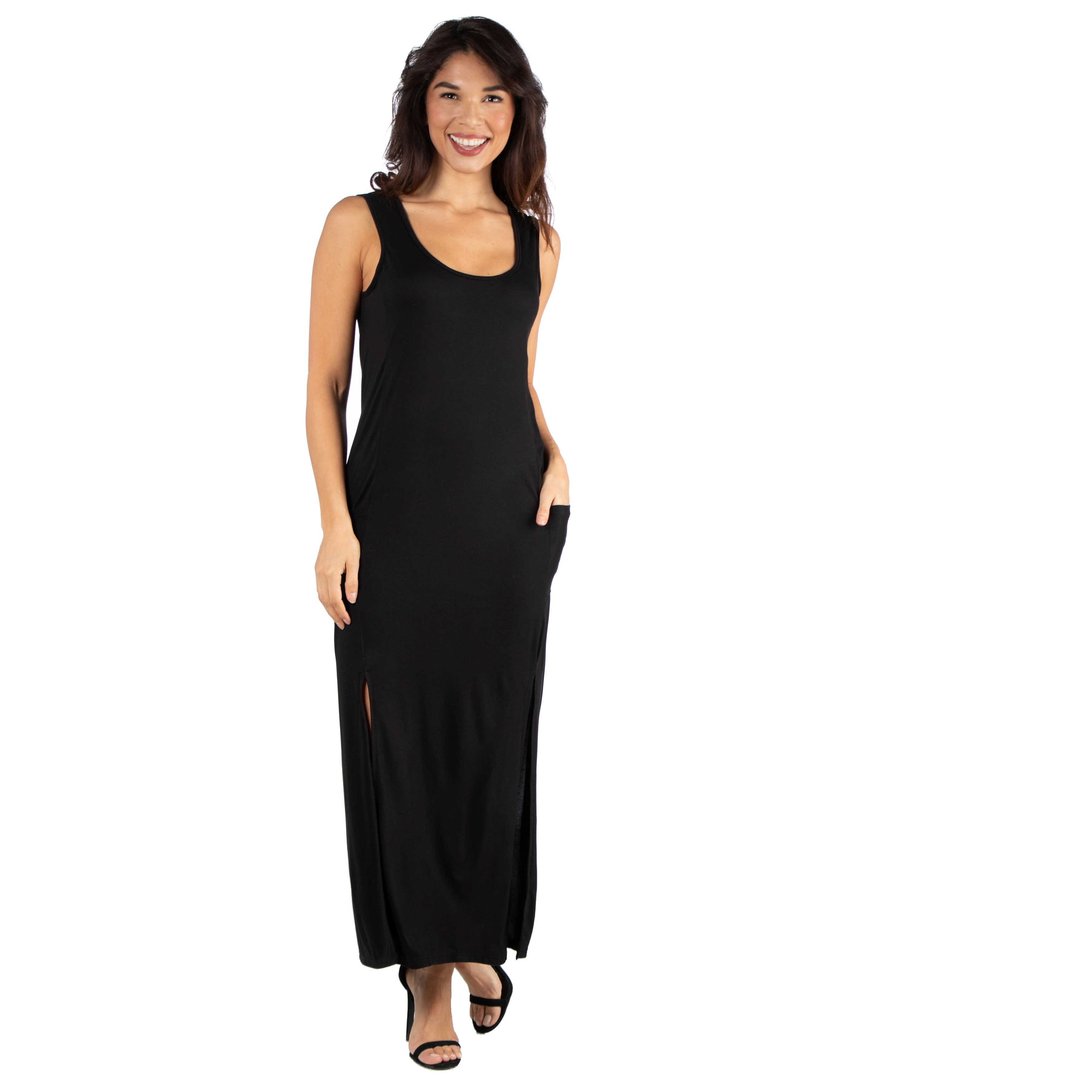 988400301c 24seven Comfort Apparel Sleeveless Black Maxi Dress With Pockets and Double  Slits