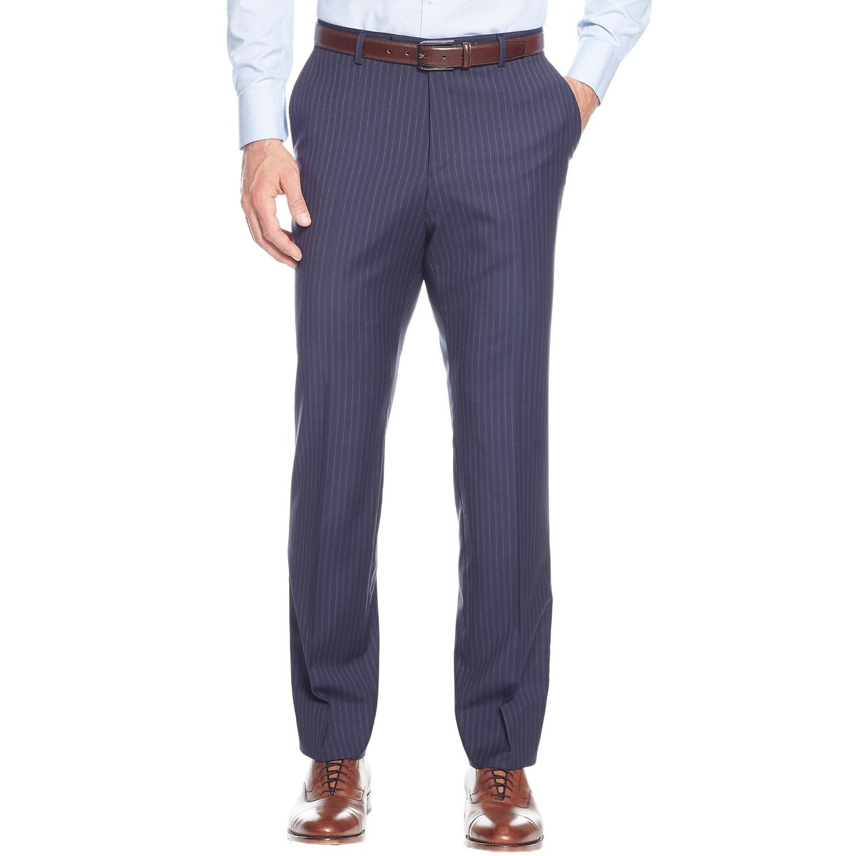 8c1590ee2 Shop Hugo Boss Mens Johnston/Lenon Regular Fit Wool Stripes Navy Suit 48R  Pants 42W - Free Shipping Today - Overstock - 24031687