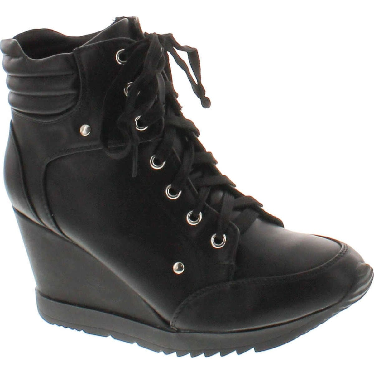 8ad0d7606993 Forever Adriana11 Women Sporty Leatherette Lace-Up High Top Wedge Sneaker  Bootie Shoes - Black