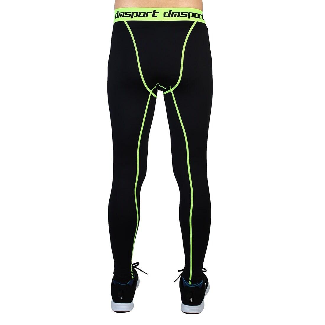 b97347b065cd3 Men Sports Compression Tights Running Long Pants Fluorescence Green W28