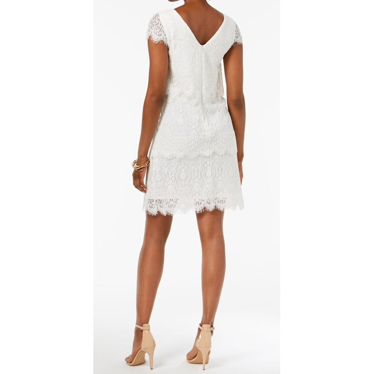 9ba26675d46 Shop Donna Ricco White Womens Size 14 Lace Tiered Eyelash Hem Shift Dress -  On Sale - Free Shipping Today - Overstock - 27672775