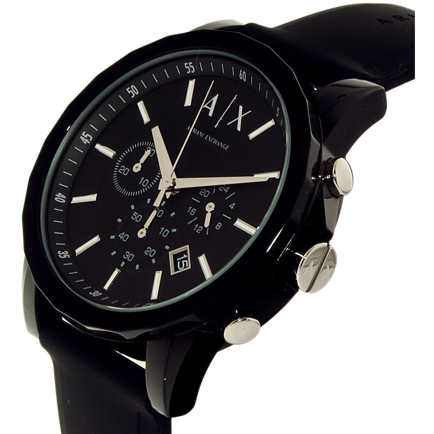 Shop Armani Exchange Men s Black Silicone Japanese Quartz Dress Watch -  Free Shipping Today - Overstock - 18729720 304b9ae96e