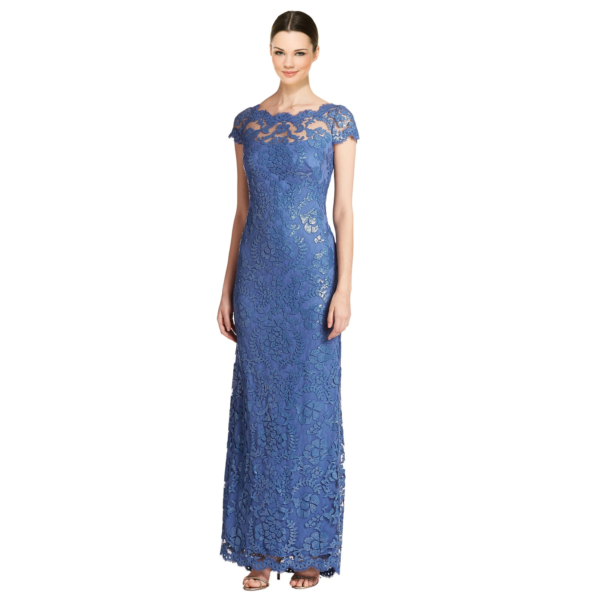 Tadashi Shoji Fl Embroidered Sequin Cap Sleeve Evening Gown Dress 12 Free Shipping Today 24466094