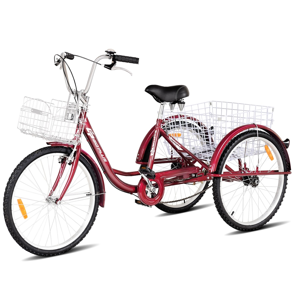 34a8b7c31e2 Shop Goplus 24'' Single Speed 3-wheel Bicycle Adult Tricycle Seat Height  Adjustable w/ Bell - Free Shipping Today - Overstock - 22649846