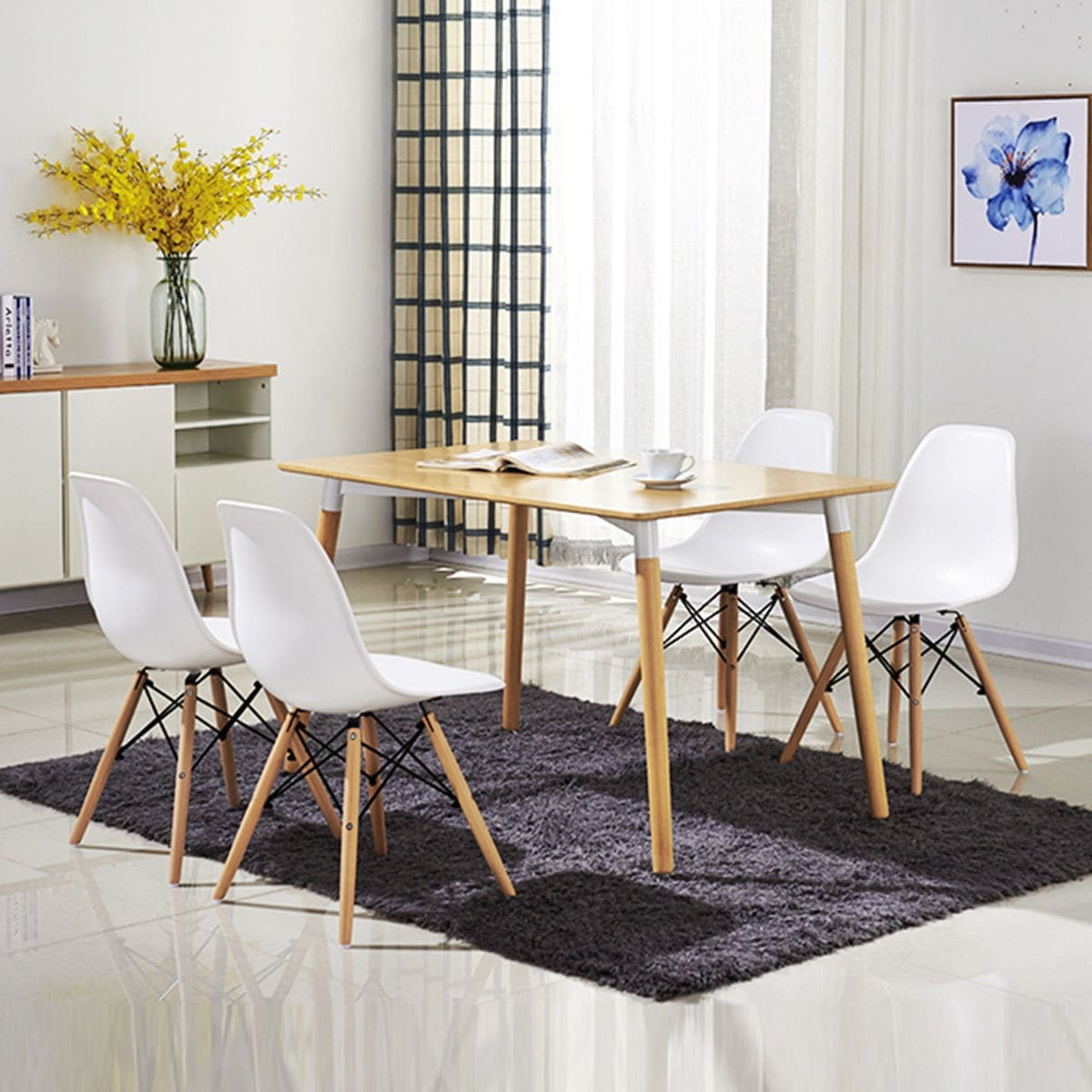 COSTWAY Set Of 4 Mid Century Modern Style DSW Dining Side Chair Wood Leg