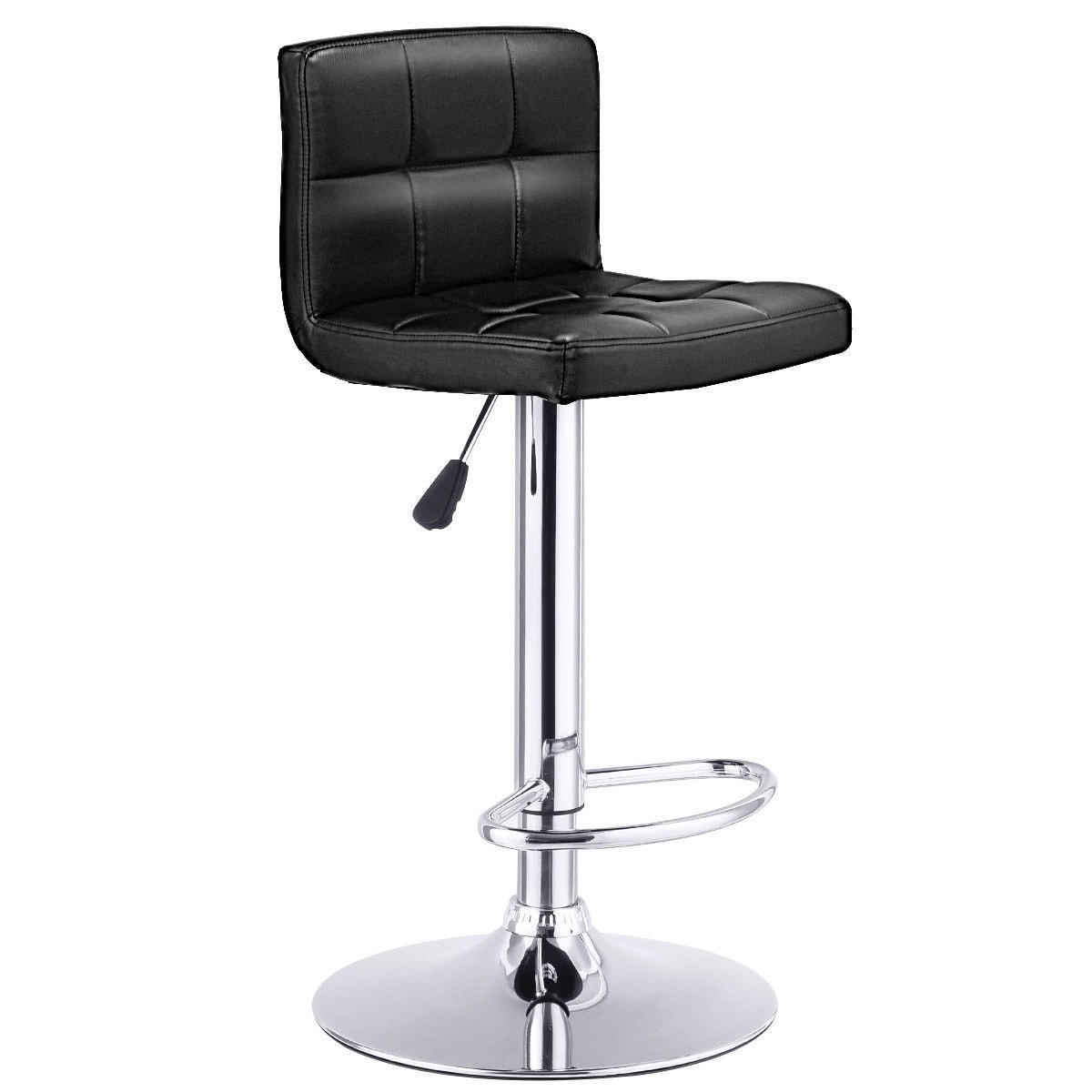 Bon Shop Costway 1 PC Bar Stool Swivel Adjustable PU Leather Barstools Bistro Pub  Chair Black   Free Shipping Today   Overstock.com   16065837
