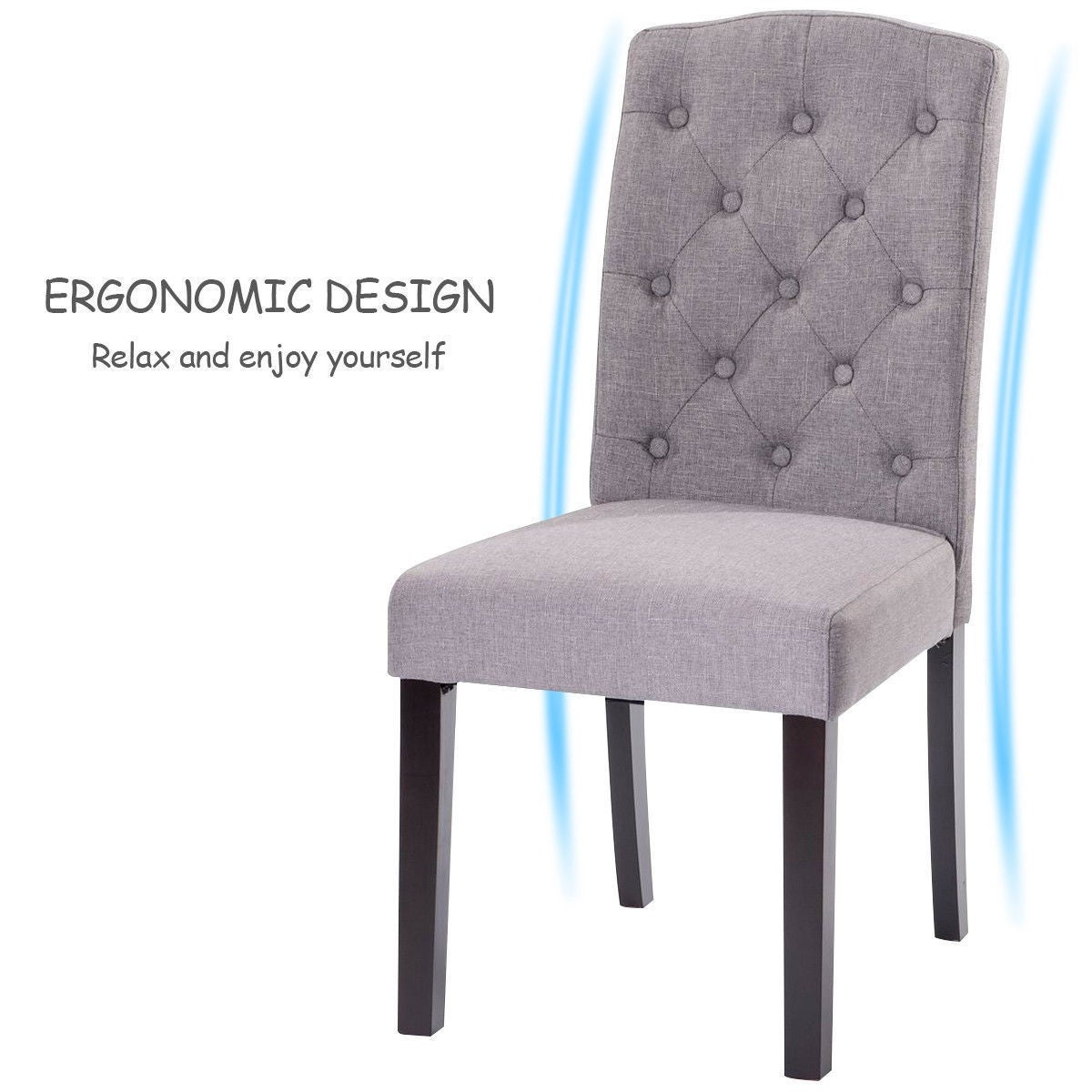 Shop Costway Set of 2 Fabric Wood Accent Dining Chair Tufted Modern ...