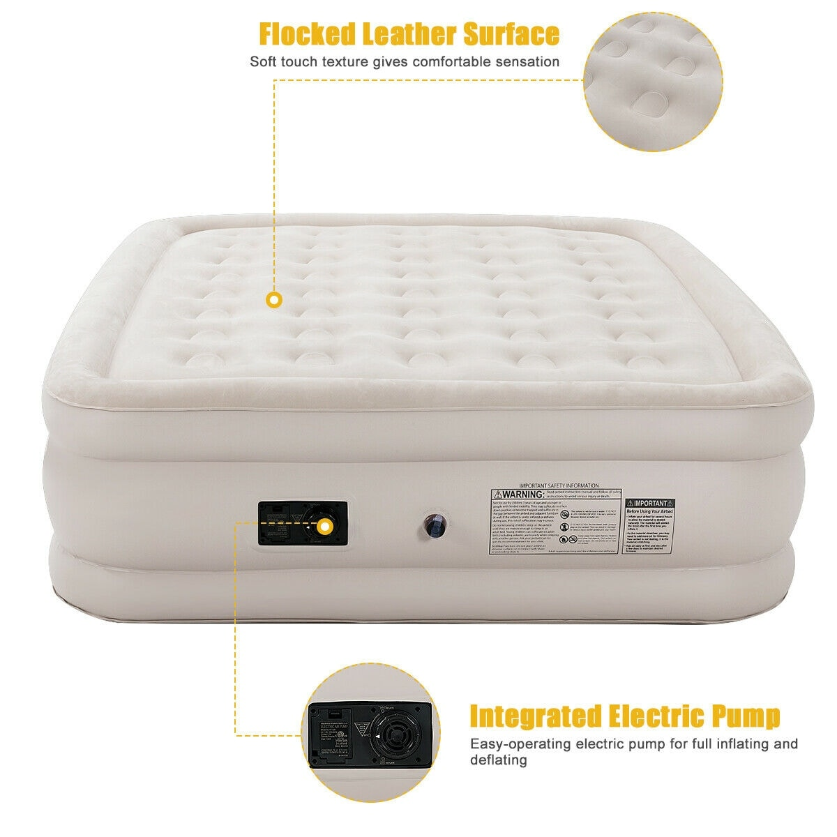 Shop Luxury Raised Air Mattress Inflatable Airbed Built In Pump