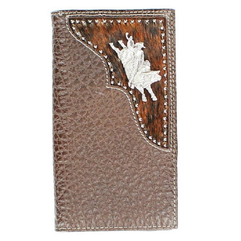 a0905628731d PBR Western Wallet Mens Leather Rodeo Bull Rider Dark Brown - One size