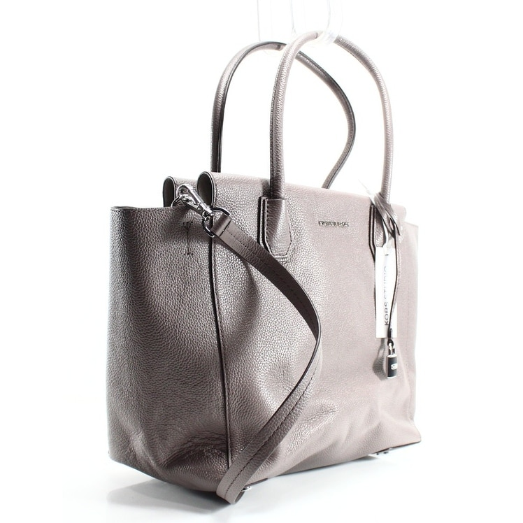 3e9af05a6a2da1 Shop Michael Kors NEW Cinder Grey Mercer Large Satchel Pebble Leather Purse  - Free Shipping Today - Overstock - 19676497