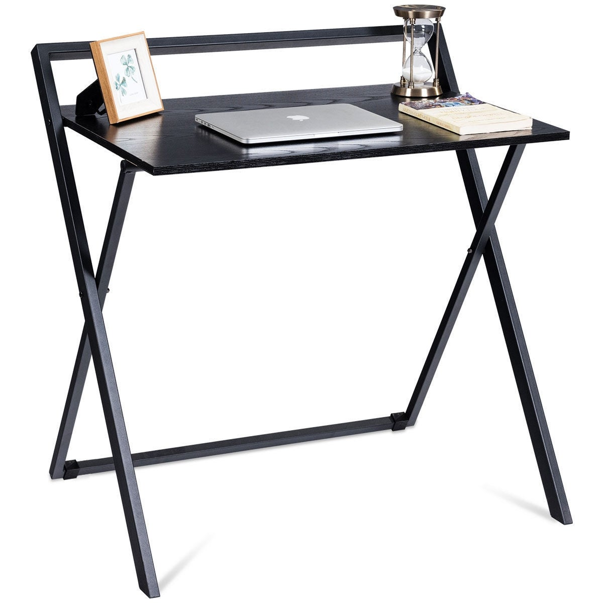 Beau Folding Computer Desk PC Laptop Table Study Workstation Wood Top Metal  Frame New