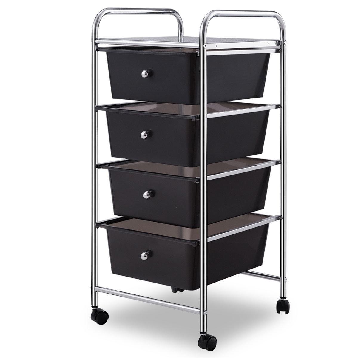 Costway 4 Drawers Metal Rolling Storage Cart Scrapbook Supply U0026 Paper Home  Office   As Pic