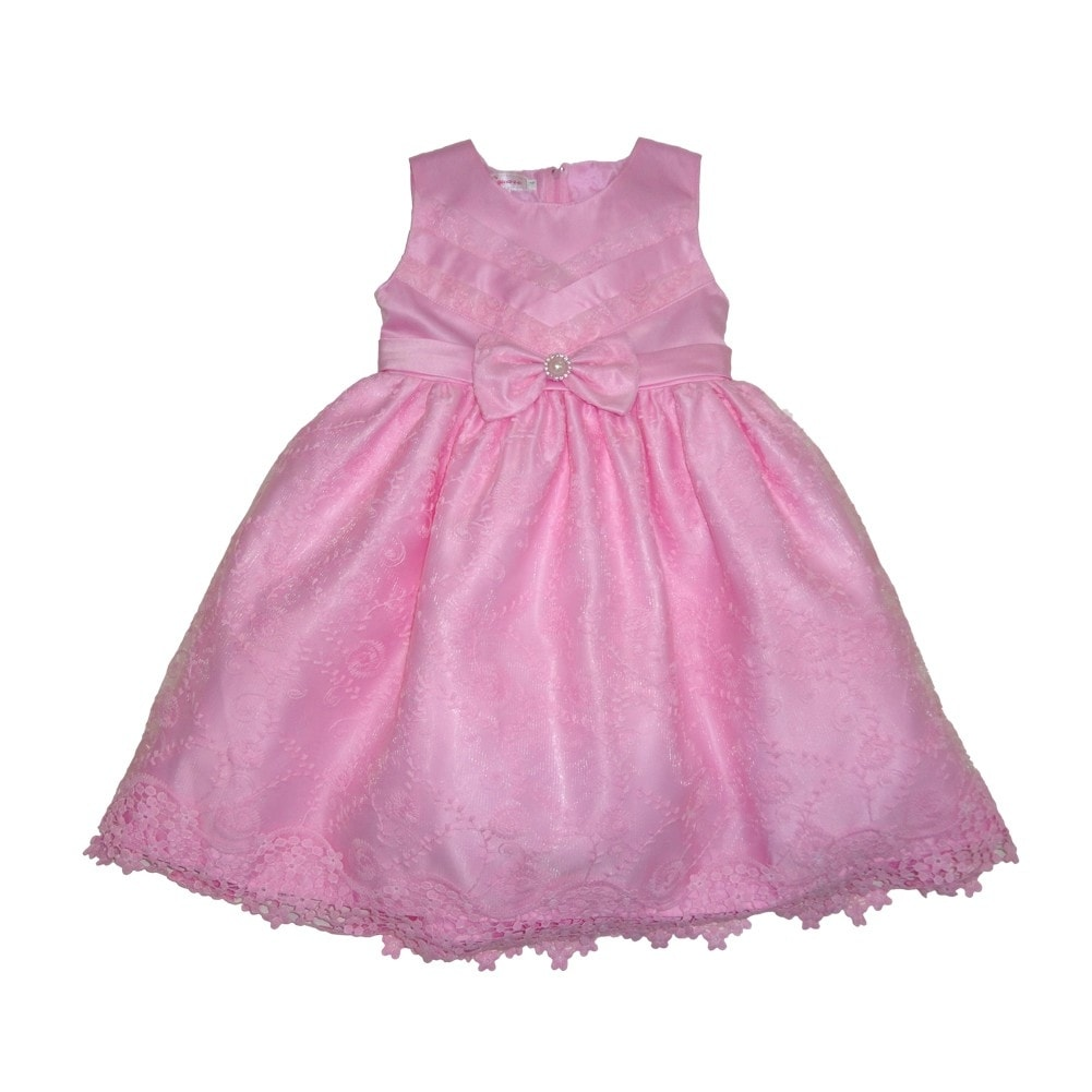 Shop Baby Girls Pink Embroidered Bow Accent Sleeveless Flower Girl