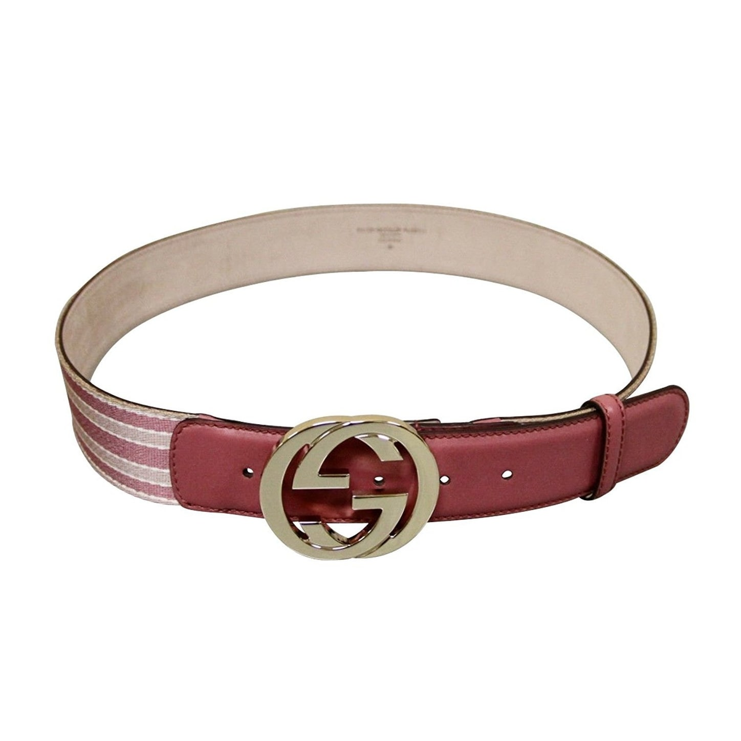 81000b7c143 Shop Gucci Women s Canvas Leather Interlocking G Buckle Web Belt 114876 -  90   36 - Free Shipping Today - Overstock - 24581301