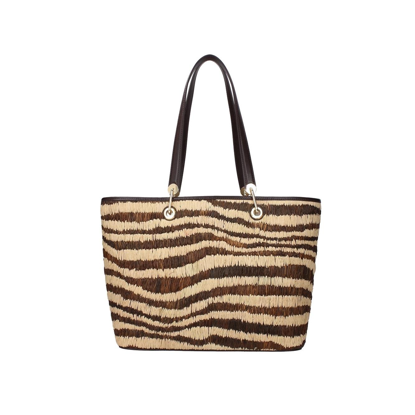 Michael Kors New Malibu Straw Large Natural Brown Tote Handbag Purse