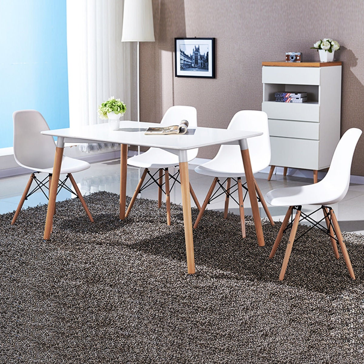 Shop COSTWAY Set Of 4 Mid Century Modern Style DSW Dining Side Chair Wood  Leg   Free Shipping Today   Overstock.com   15633704