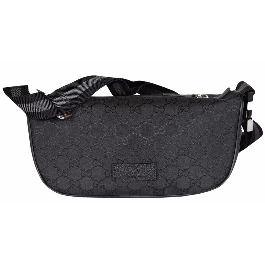 98a4bad61aa9d0 Shop Gucci 449182 Black Nylon GG Guccissima Web Stripe Fanny Pack Waist  Sling Bag - Free Shipping Today - Overstock - 14771720