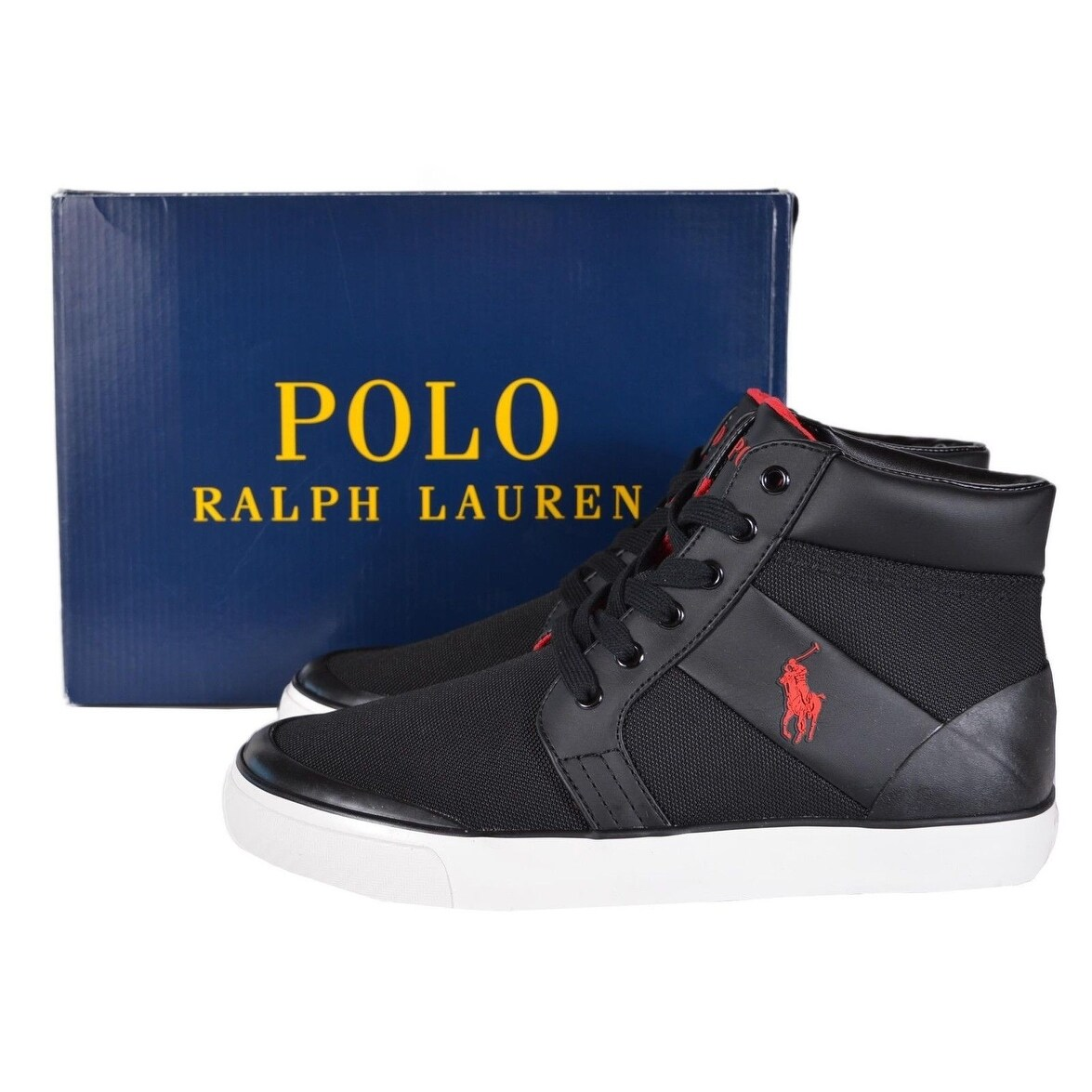 Lauren Mesh Top Ralph Shoes 5 Men's Polo Black High Sneakers 8 Isaak PTwkiOXZu