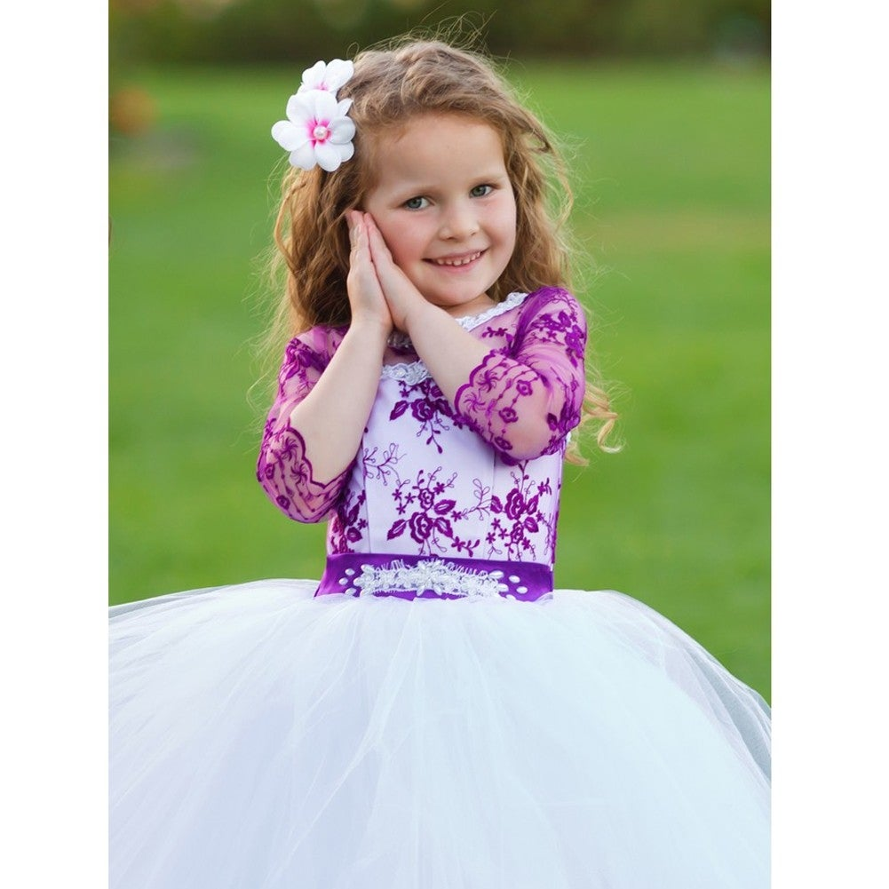 0a59fdde3df Shop Girls White Purple Organza Lace Beaded Salma Flower Girl Dress - Free  Shipping Today - Overstock - 19293057