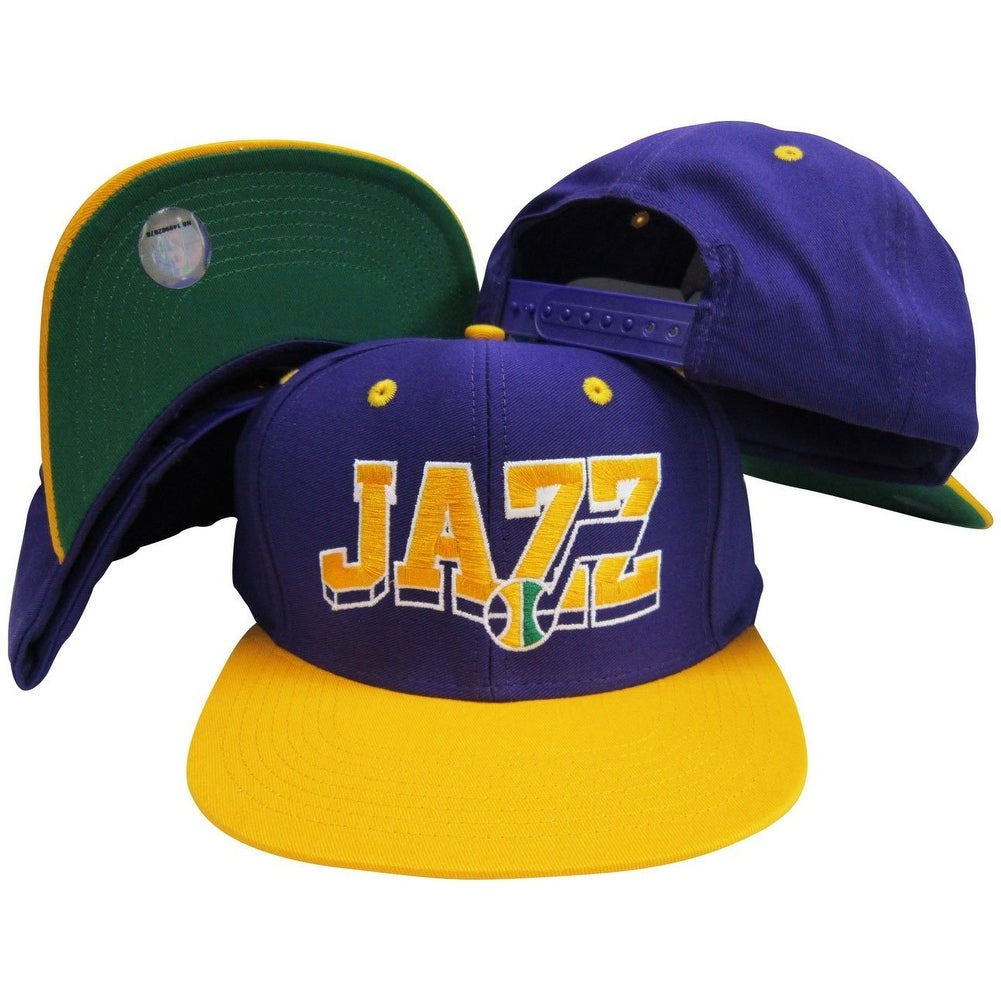 d0e4b94c9ba Shop utah jazz purple yellow wave two tone plastic snapback adjustable cap  free shipping on orders