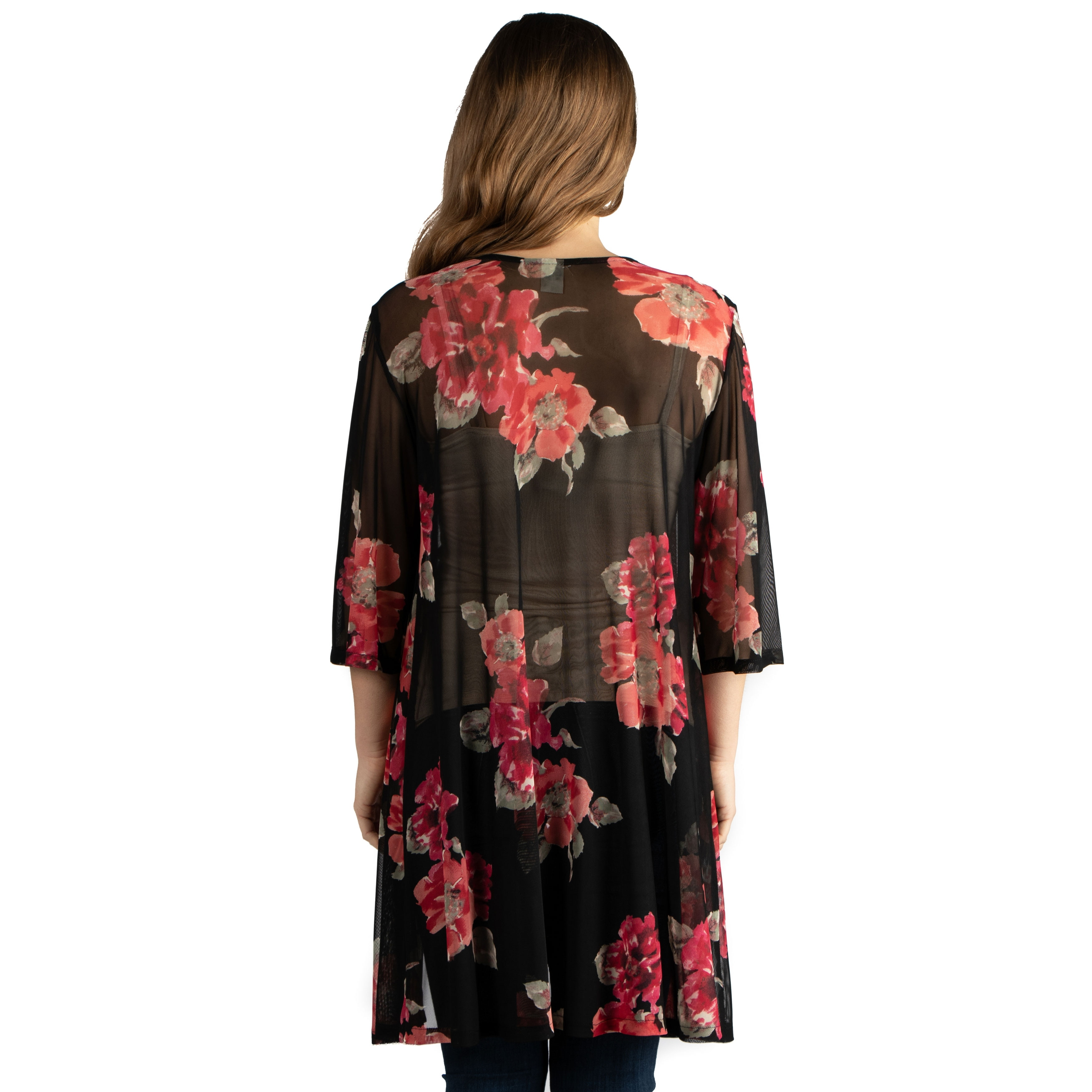 ac1d2fb91c Shop 24seven Comfort Apparel Knee Length White Floral Print Maternity Kimono  Cardigan - Free Shipping On Orders Over  45 - Overstock - 28032285