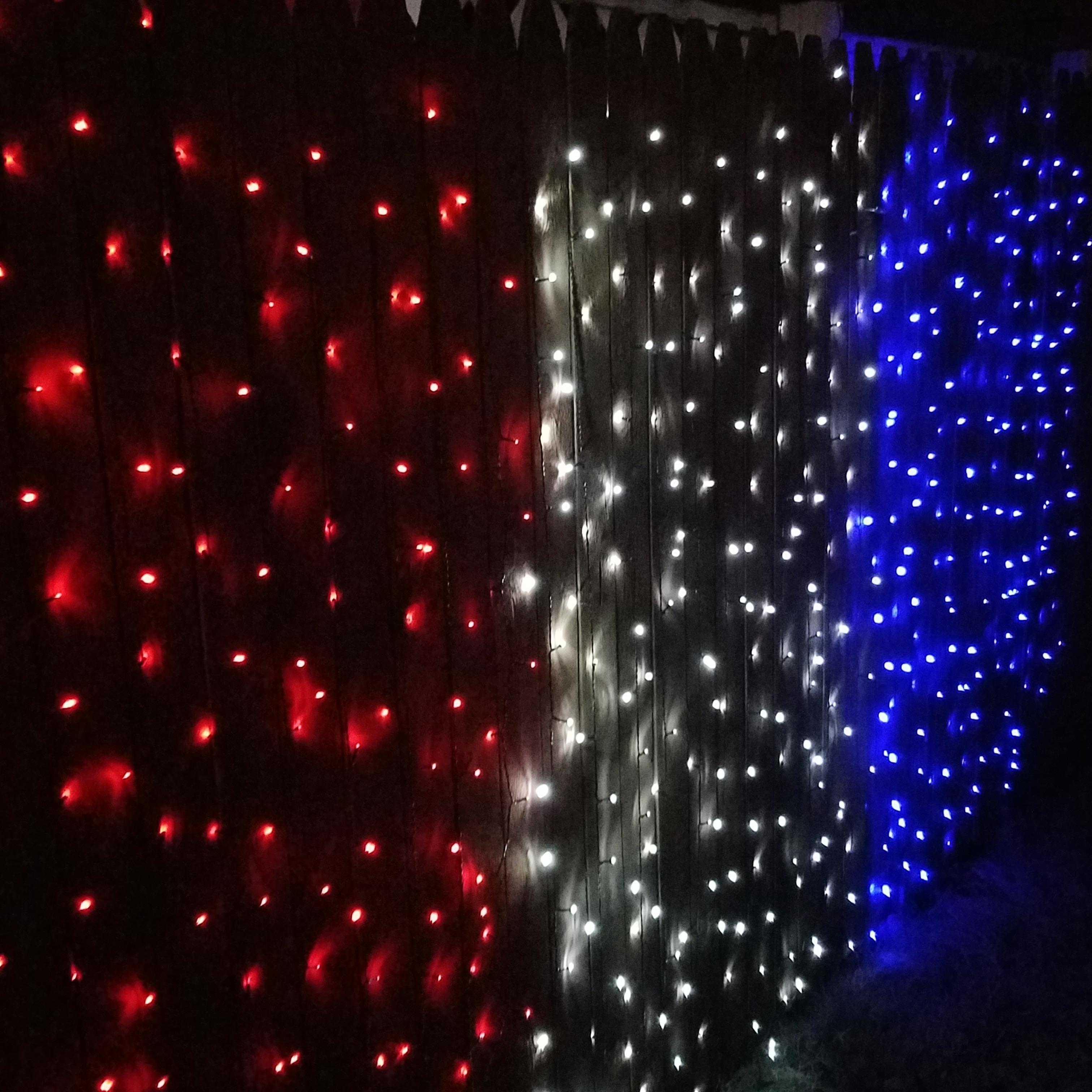 Sunnydaze 100 Led Patriotic Solar Light 1 Red Bright White Blue 3 Strands