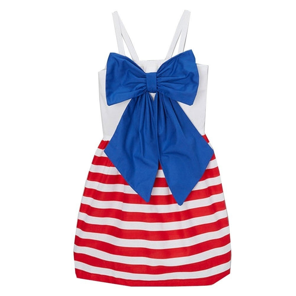 91bb278acb64 Shop Little Girls Red White Stripe Blue Bow Spaghetti Strap Patriotic Dress  12M-6 - Free Shipping On Orders Over $45 - Overstock - 18172364