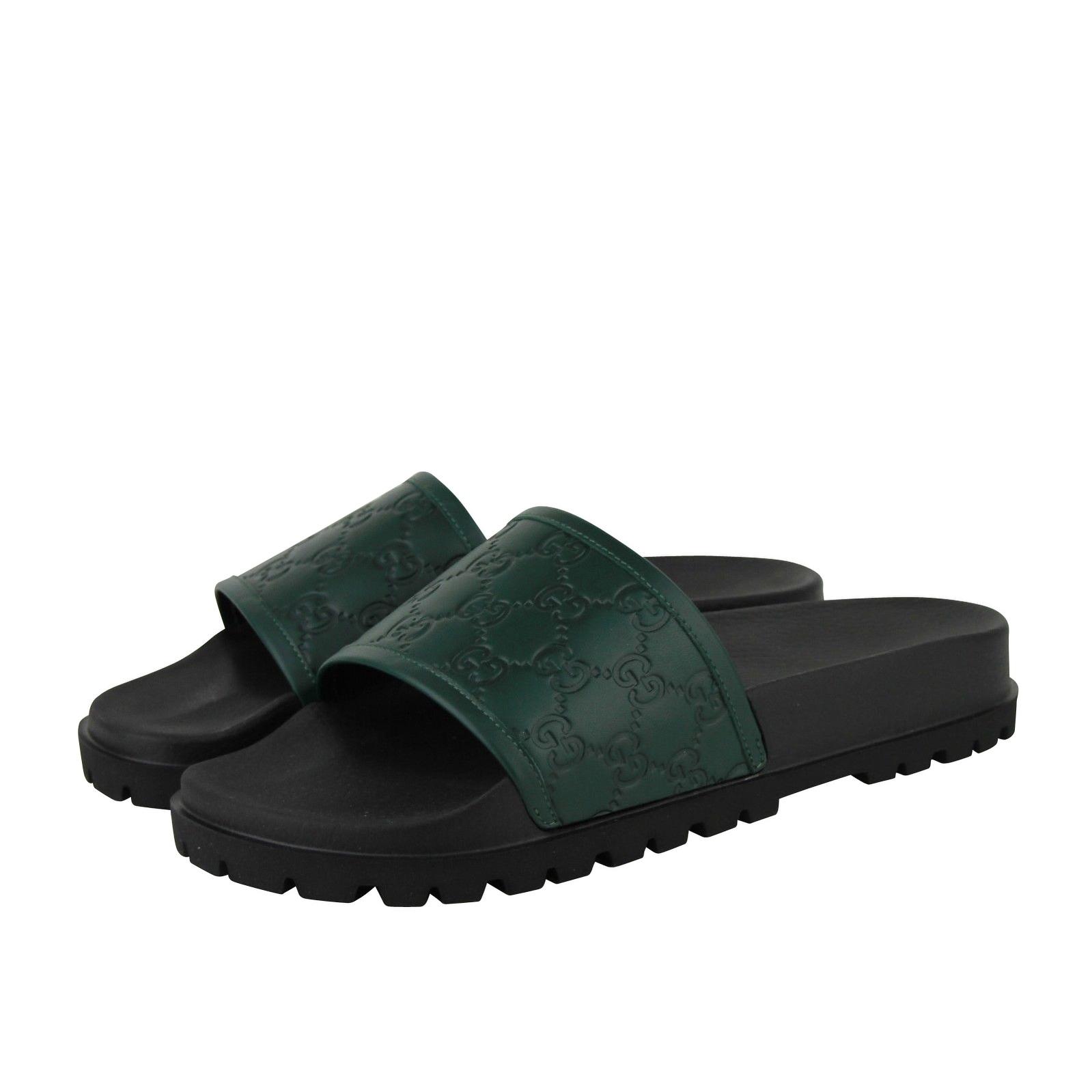 05ff9c28b Shop Gucci Guccissima Pattern Green / Black Leather Sandals 431070 ...