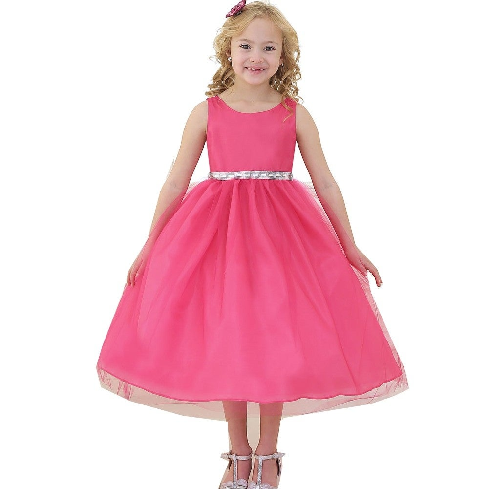 Shop Girls Fuchsia Rhinestone Tulle Junior Bridesmaid Dress 8-12 ...