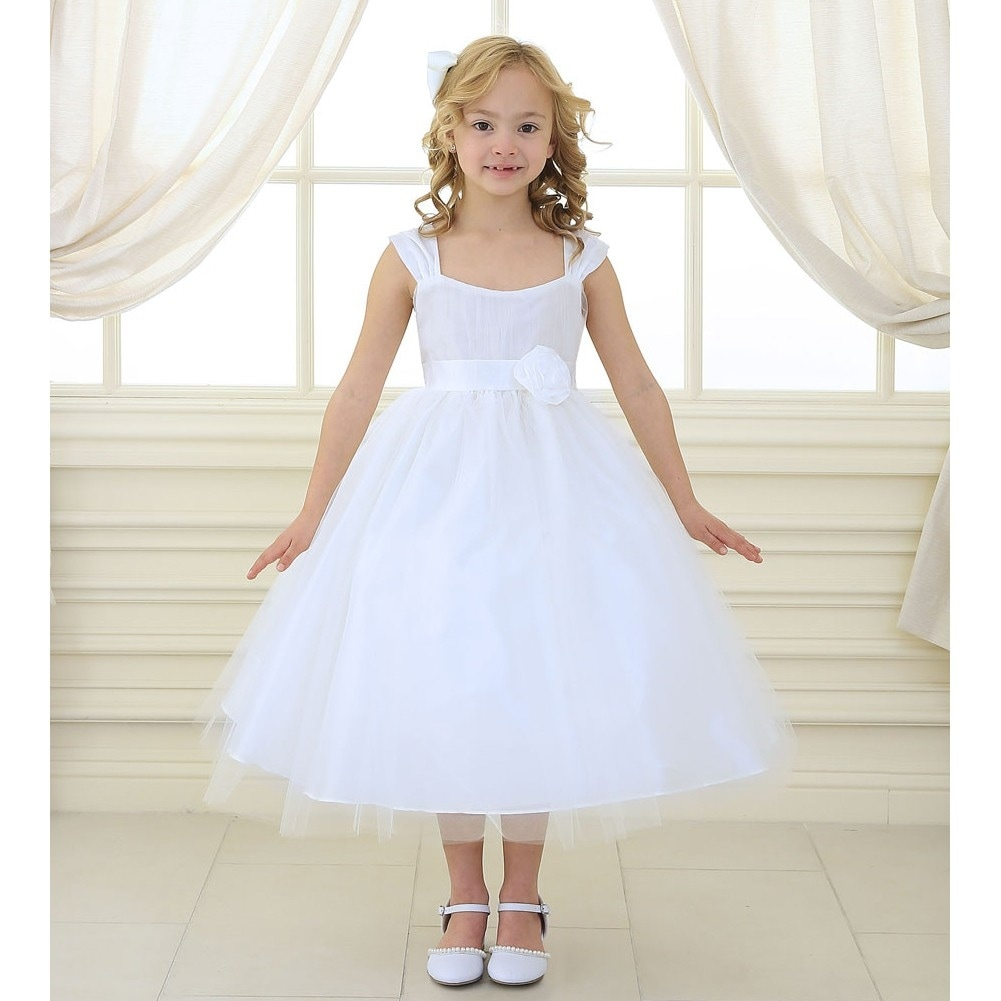 e52b1fe49 Shop Girls White Polysilk Tulle Junior Bridesmaid Dress 8-12 - Free  Shipping Today - Overstock - 18168577