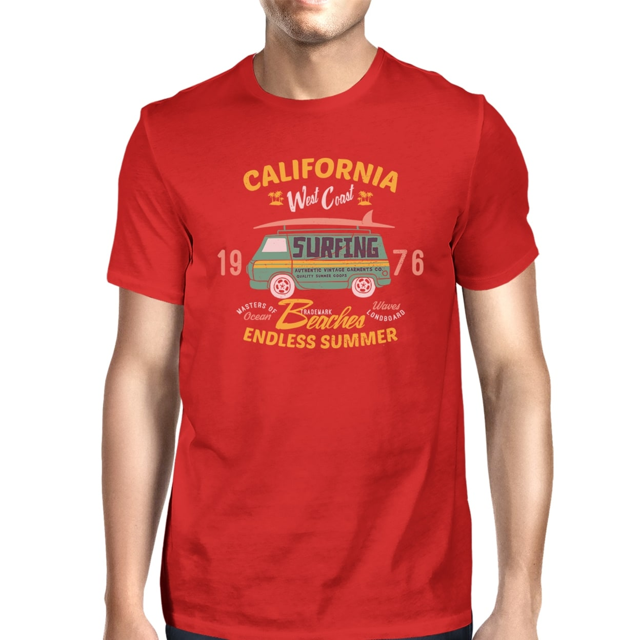 Shop 365 Printing California Beaches Graphic T Shirt For Men Red