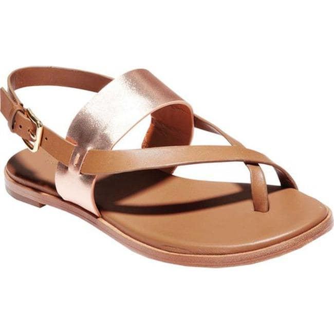 e3b13875443b Cole Haan Women s G.Os Anica Thong Sandal Pecan Leather Rose Gold Metallic  Leather