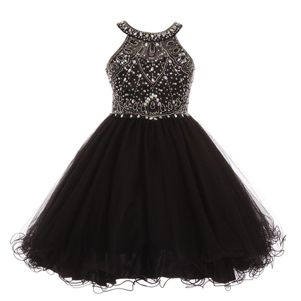 Shop Little Girls Black Rhinestone Halter Neck Tulle Dazzling Flower