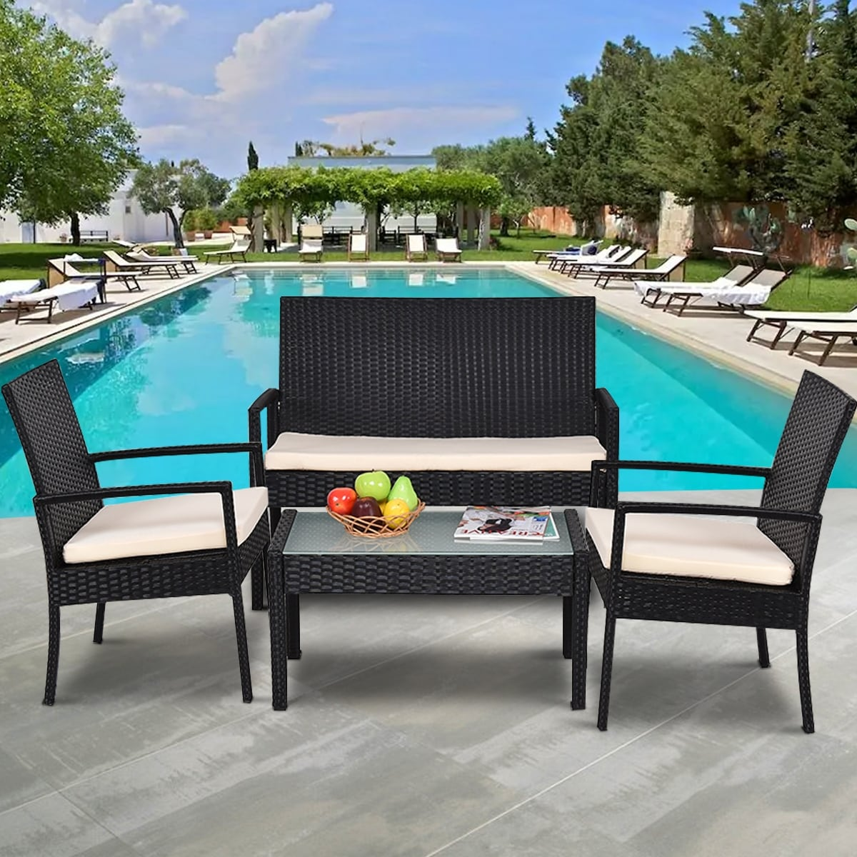 Shop Costway 4 PCS Outdoor Patio Furniture Set Table Chair Sofa Cushioned  Seat Garden - Free Shipping Today - Overstock.com - 16088556 - Shop Costway 4 PCS Outdoor Patio Furniture Set Table Chair Sofa