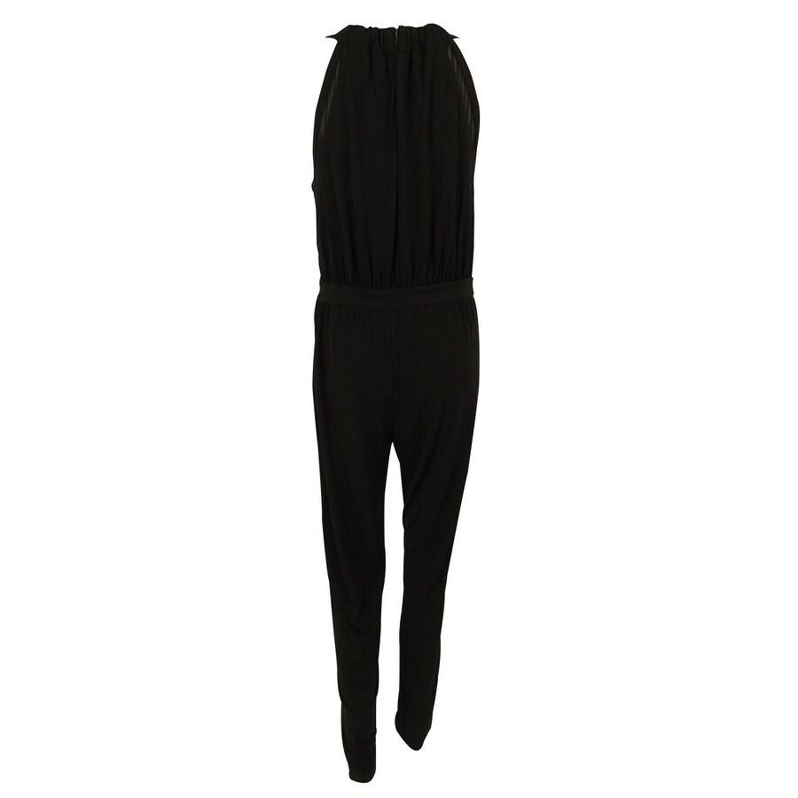 ffe83a26e2a Shop Spense Women s Halter Lace Trim Jumpsuit - Black - On Sale - Free  Shipping Today - Overstock.com - 14815032