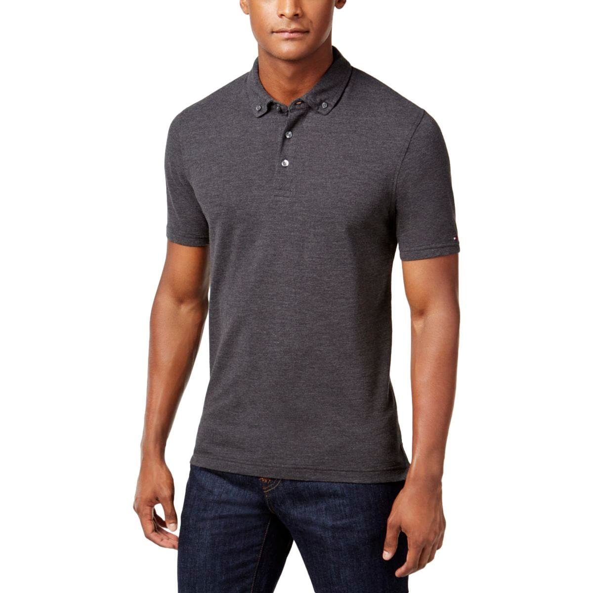 Shop Tommy Hilfiger Mens Byron Polo Shirt Pique Heathered Free