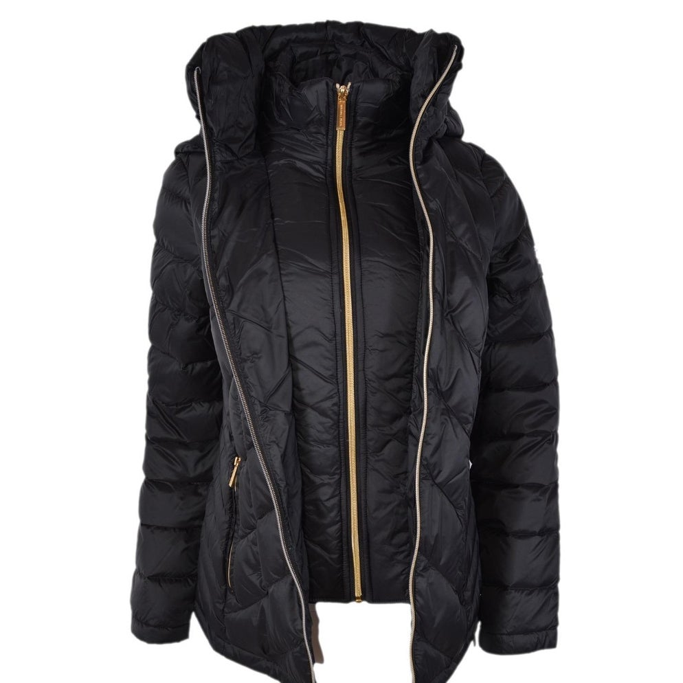 2c8b91e4b603 Shop Michael Kors Women s Black Quilted Nylon Packable Hooded Down Puffer  Jacket - Free Shipping Today - Overstock - 25751101