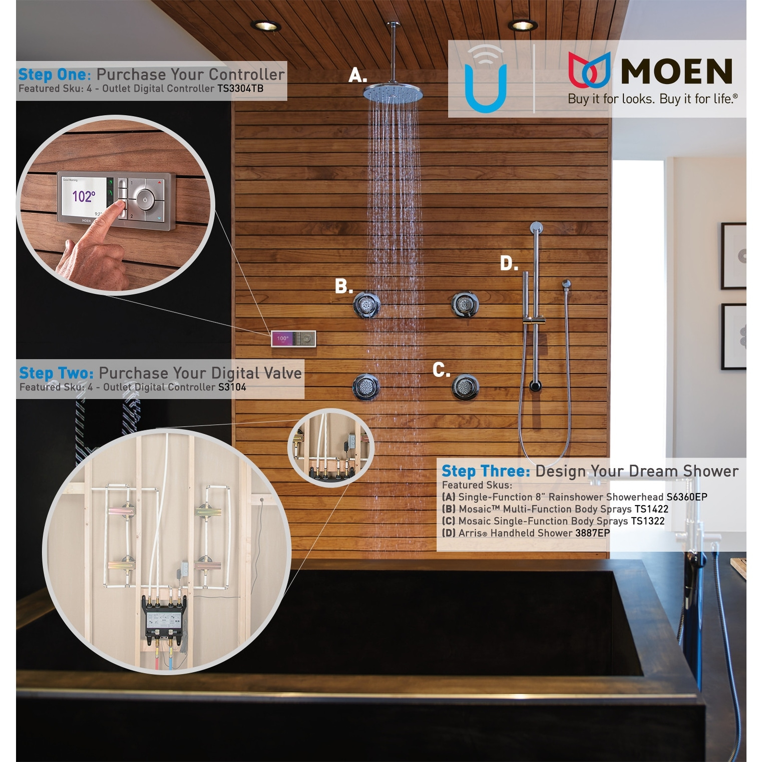 Moen S3102 U by Moen Digital Thermostatic Shower 2 Port Valve with 1/2