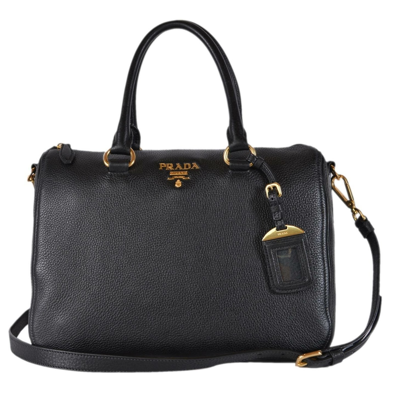 b3eed4a221d Prada 1BB023 Black Vitello Phenix Leather Bauletto Boston Bag Satchel Purse