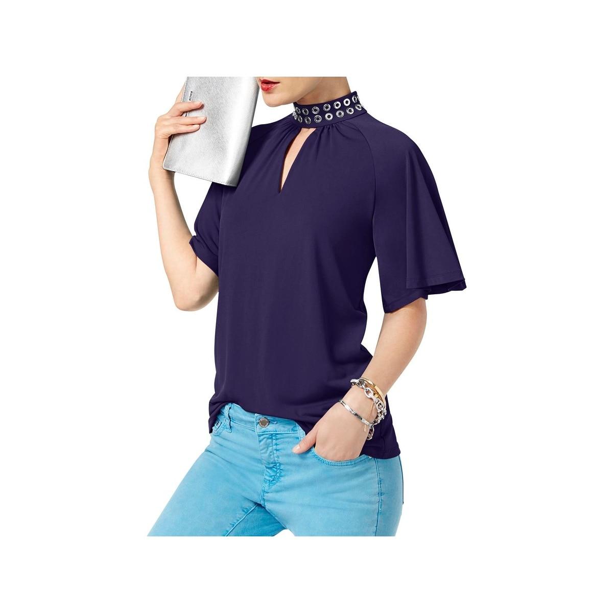 b02ae89a508b44 Shop MICHAEL Michael Kors Womens Choker Top Embellished Matte Jersey ...