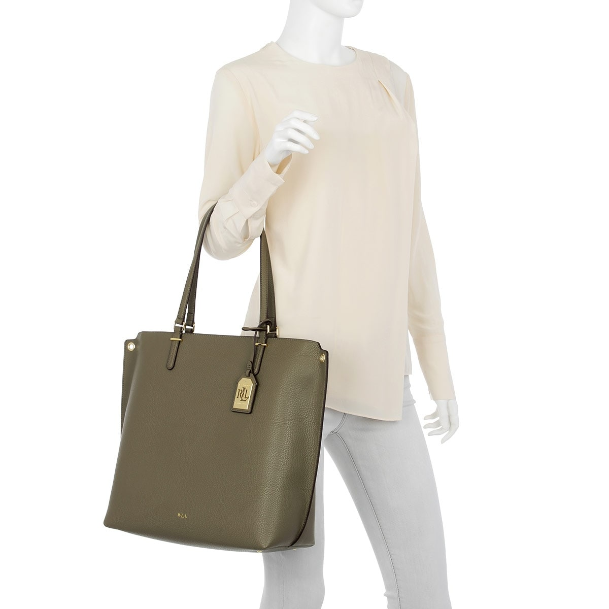 Shop Lauren Ralph Lauren Faux-Leather Medium Abby Tote Green - Free  Shipping Today - Overstock.com - 21175752 c6927e9a92